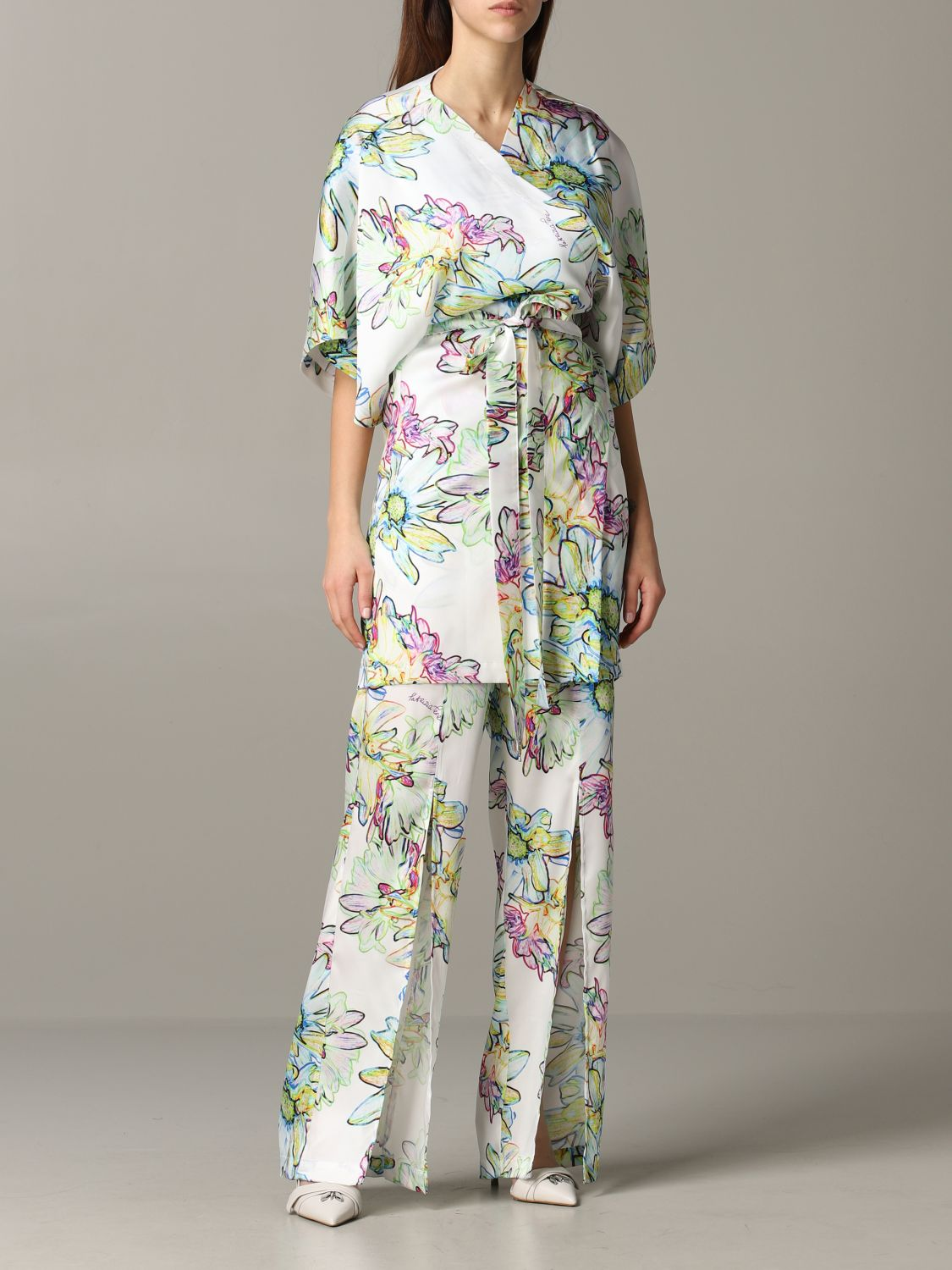 Patrizia Pepe jumpsuit in floral patterned satin white 2