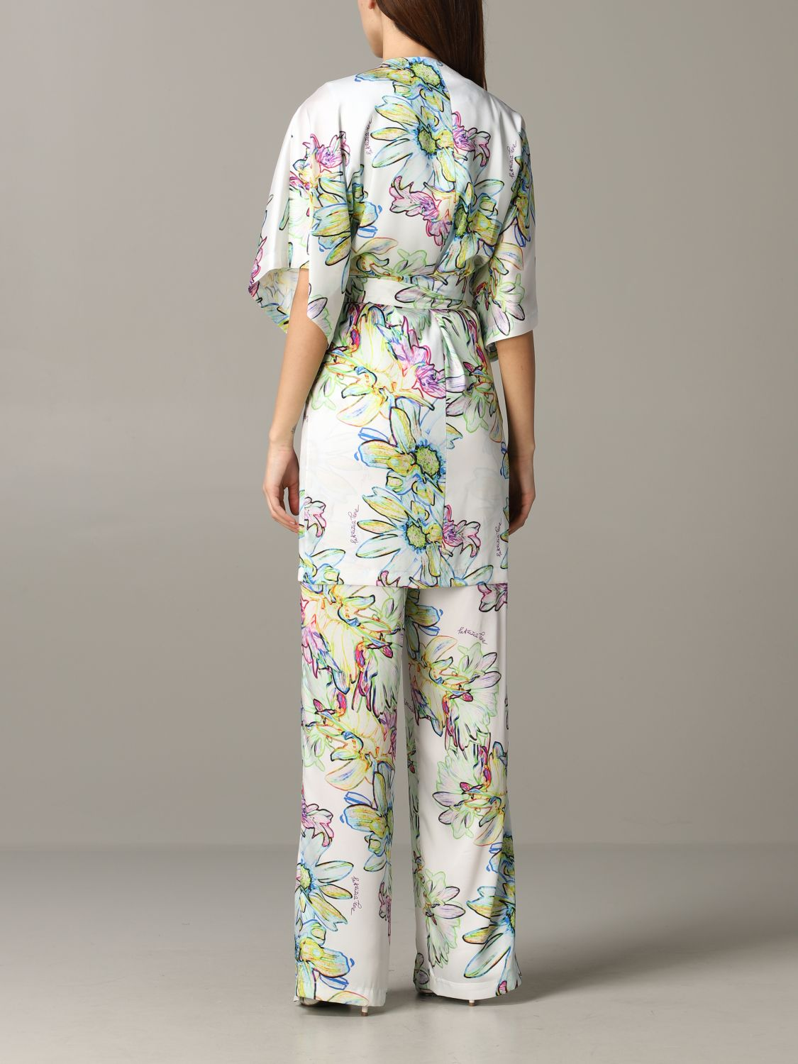 Patrizia Pepe jumpsuit in floral patterned satin white 3