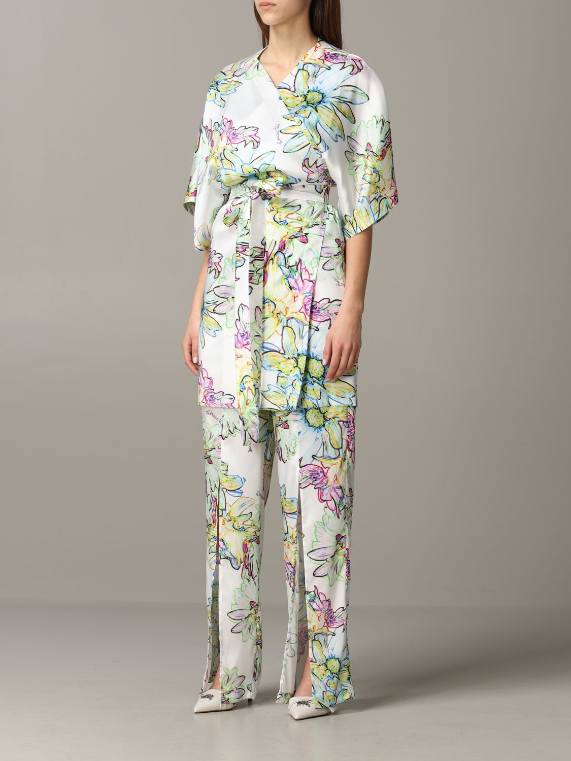 Patrizia Pepe jumpsuit in floral patterned satin white 4