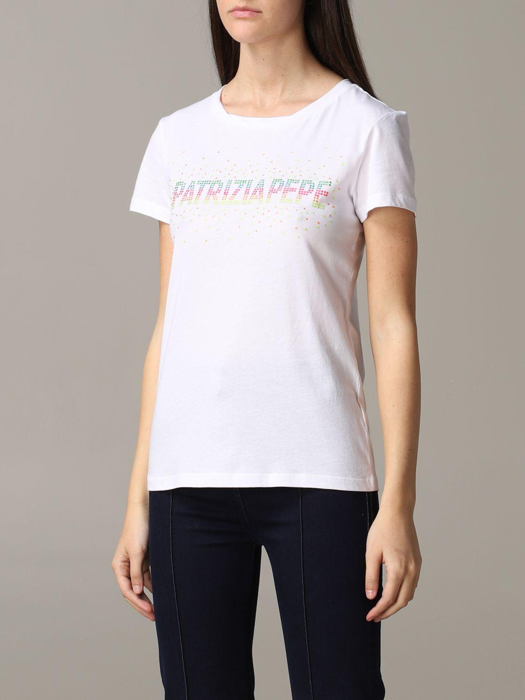 Patrizia Pepe T-Shirt mit Strass-Logo weiß 4