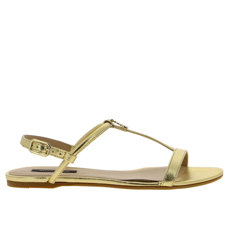 Patrizia Pepe Sandale aus laminiertem Leder gold 1