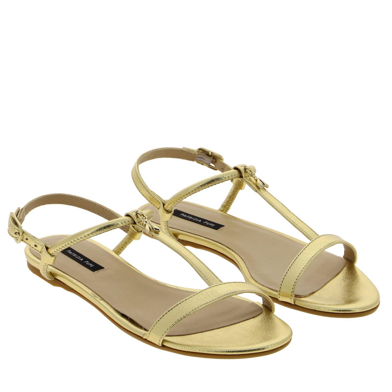 Patrizia Pepe Sandale aus laminiertem Leder gold 2