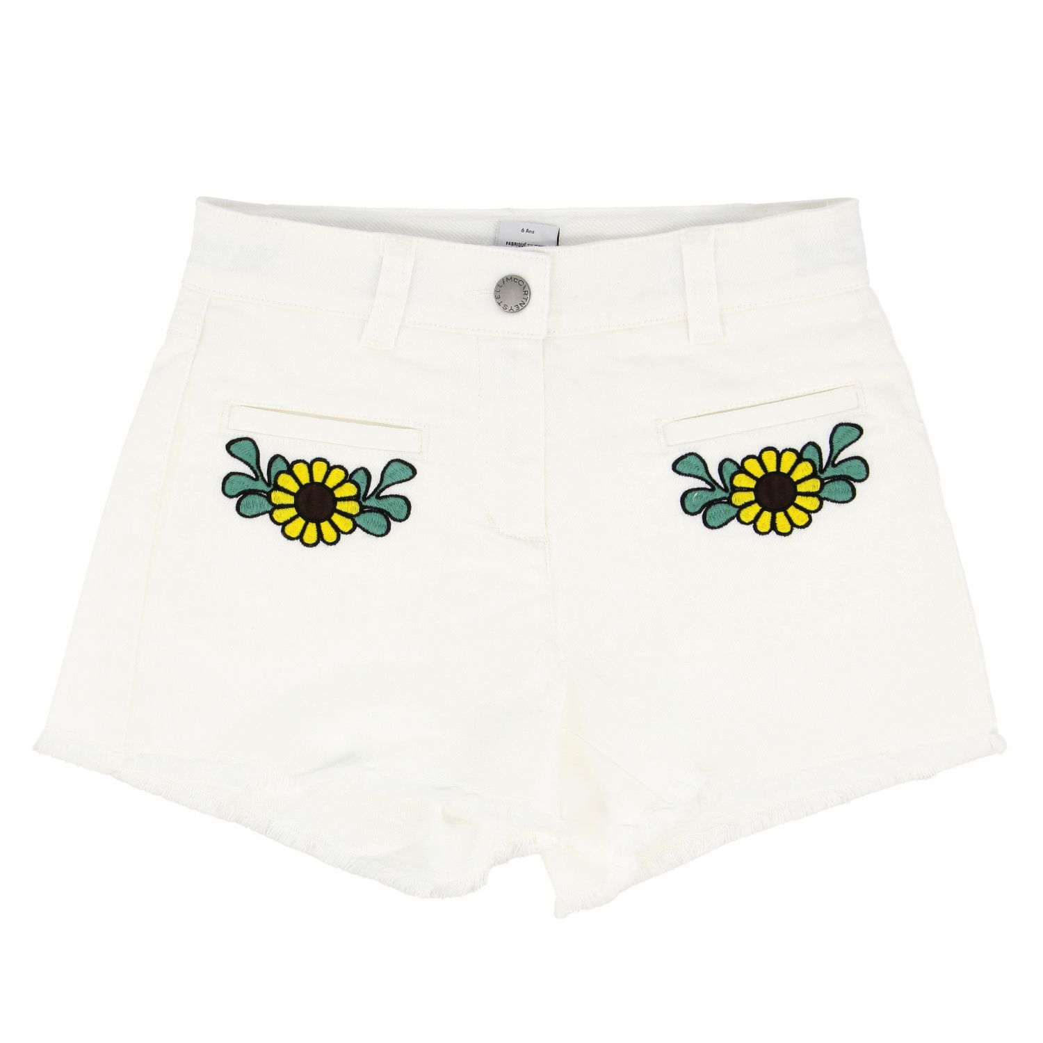 Stella McCartney shorts with floral embroidery white 1