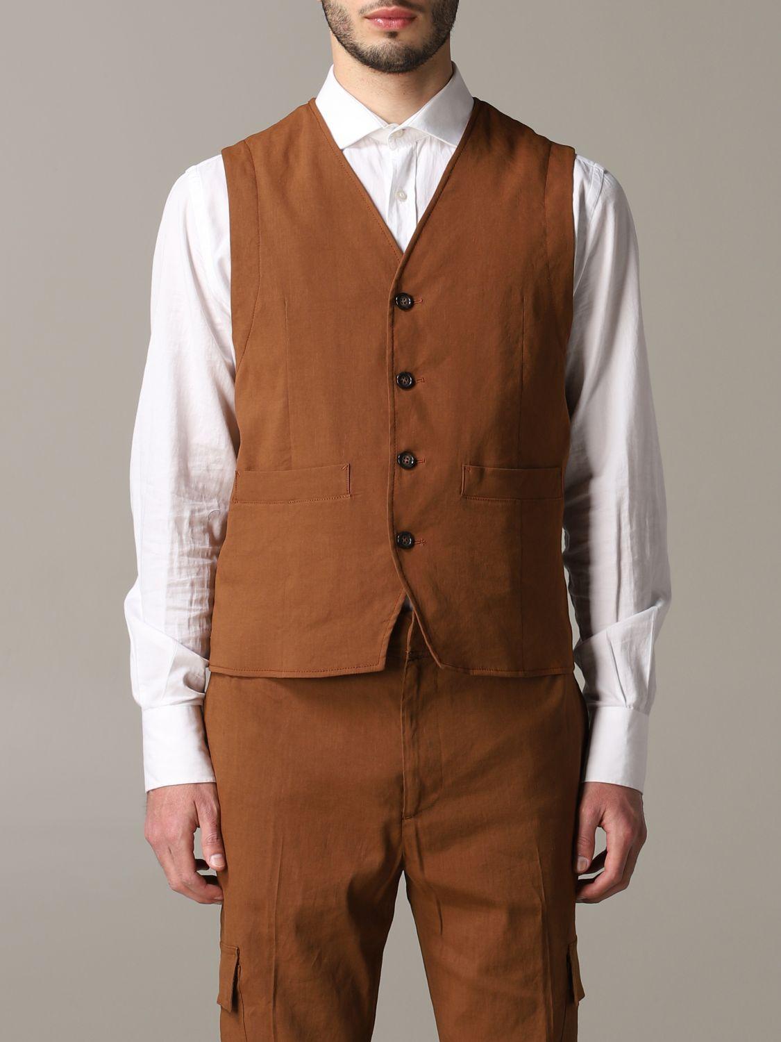 Suit vest men Paolo Pecora leather 1