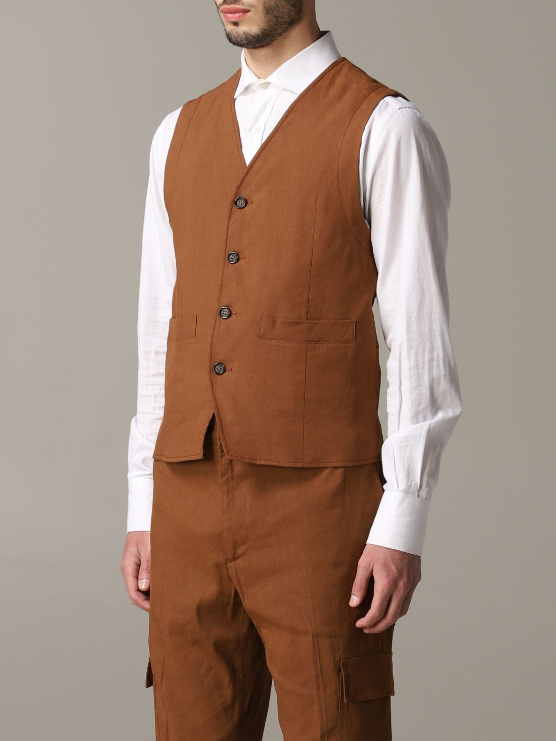 Suit vest men Paolo Pecora leather 4