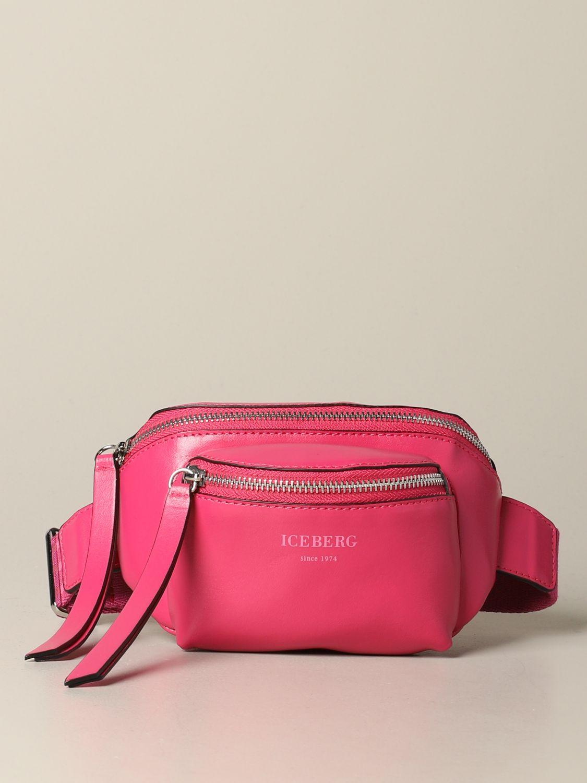 Iceberg leather belt bag with logo fuchsia 1