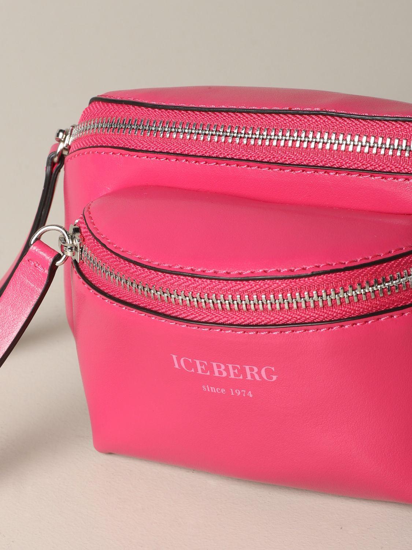 Iceberg leather belt bag with logo fuchsia 3