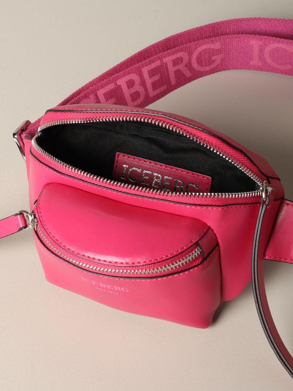 Iceberg leather belt bag with logo fuchsia 4
