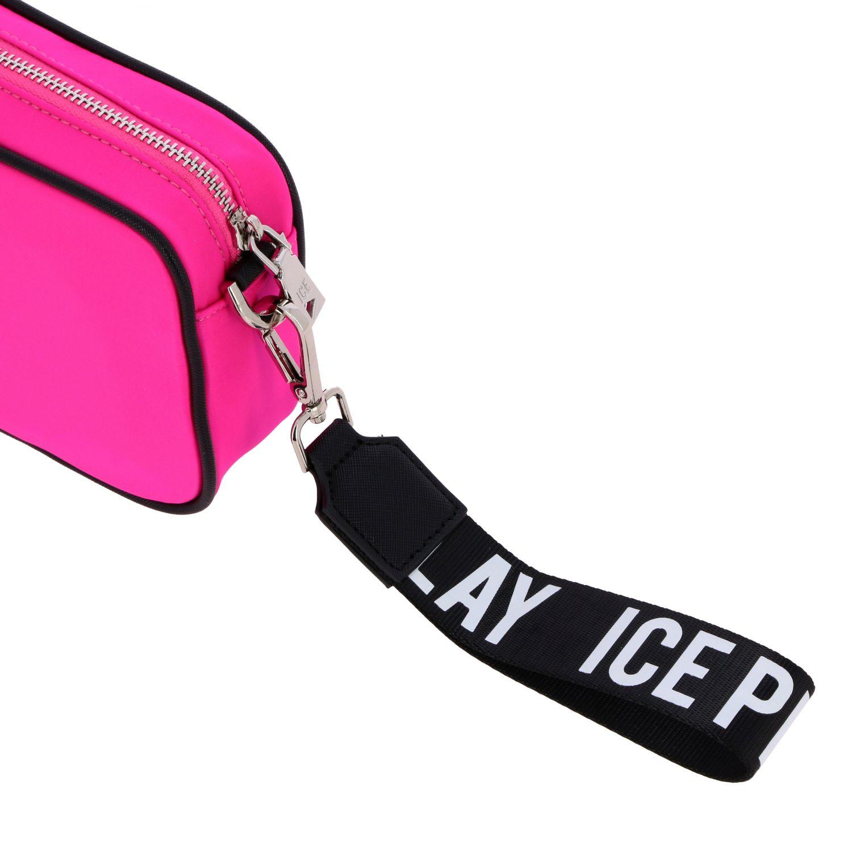 Ice Play brick clutch bag in nylon with logo fuchsia 4