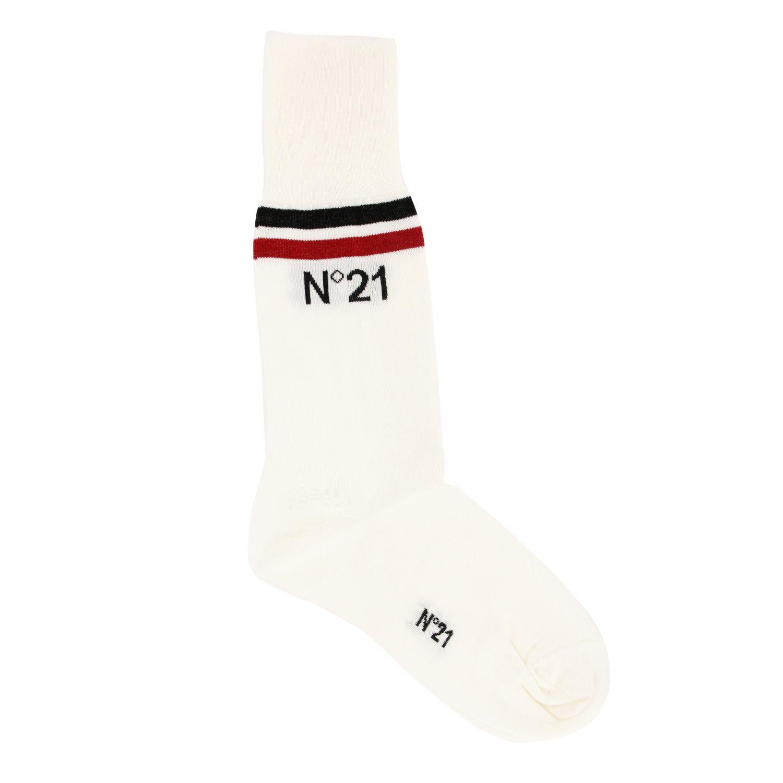 N° 21 logo装饰纯棉袜子 白色 1