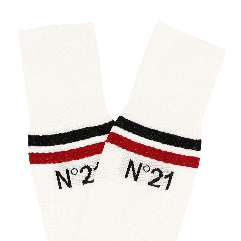N° 21 logo装饰纯棉袜子 白色 2