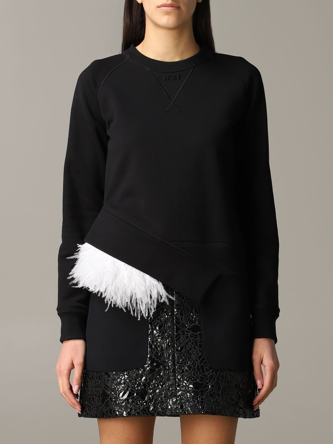 N ° 21 sweatshirt with feather inserts black 1