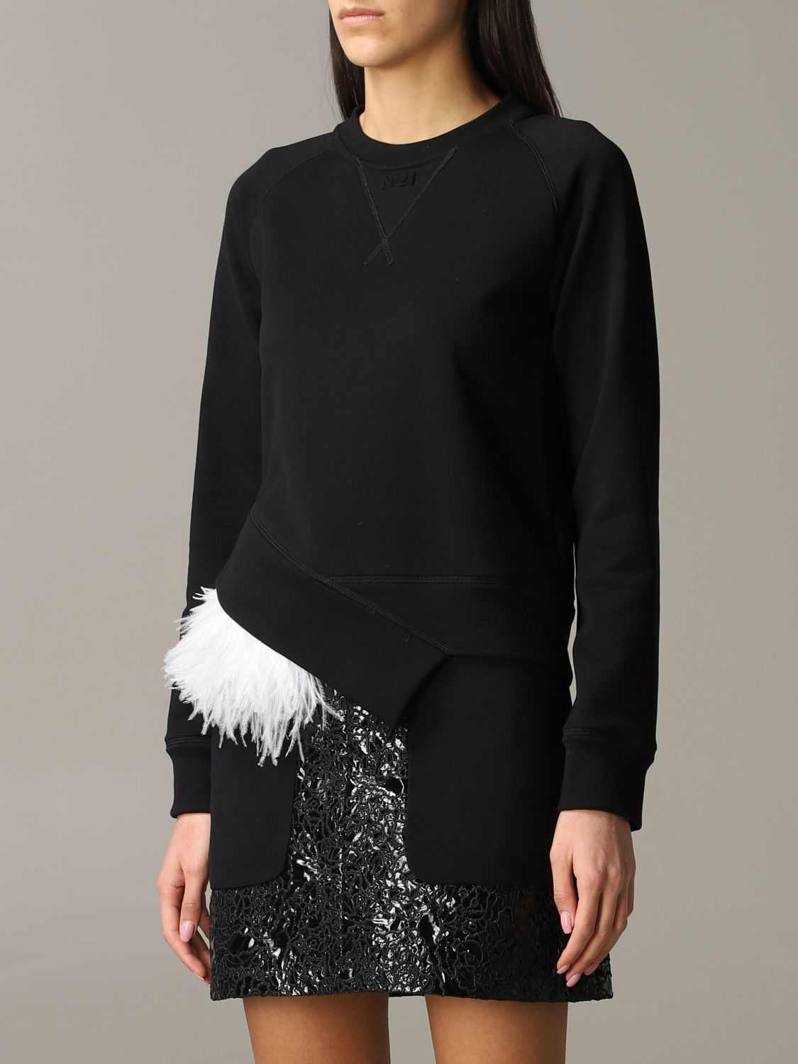 N ° 21 sweatshirt with feather inserts black 4