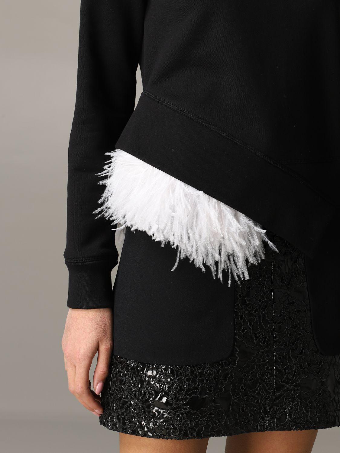 N ° 21 sweatshirt with feather inserts black 5