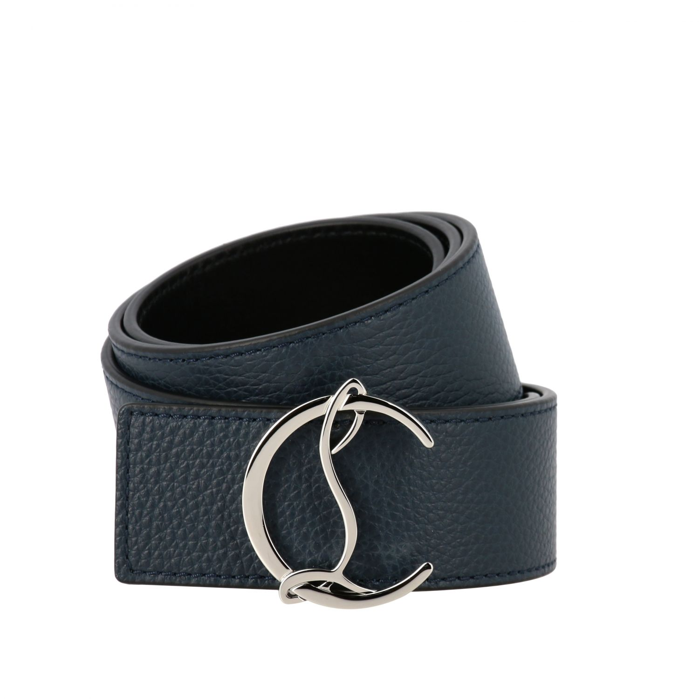 Cintura CL Christian Louboutin in pelle martellata blue 1