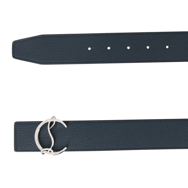 Cintura CL Christian Louboutin in pelle martellata blue 2
