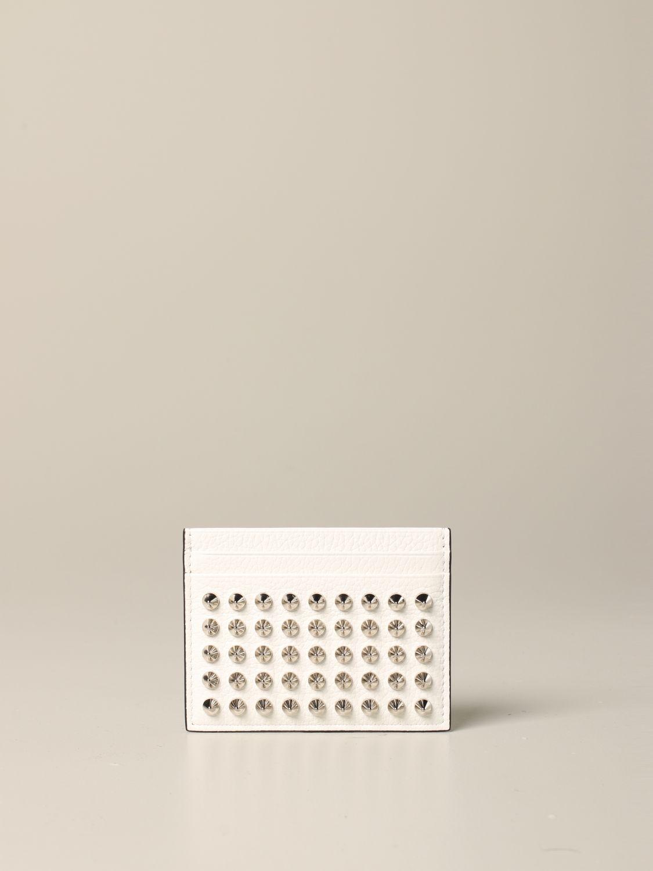 Porte-cartes de crédit Kios Christian Louboutin avec clous blanc 1