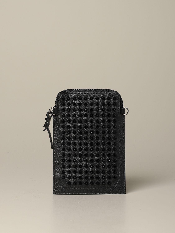 Pochette Loubi lab Christian Louboutin in pelle con borchie nero 1