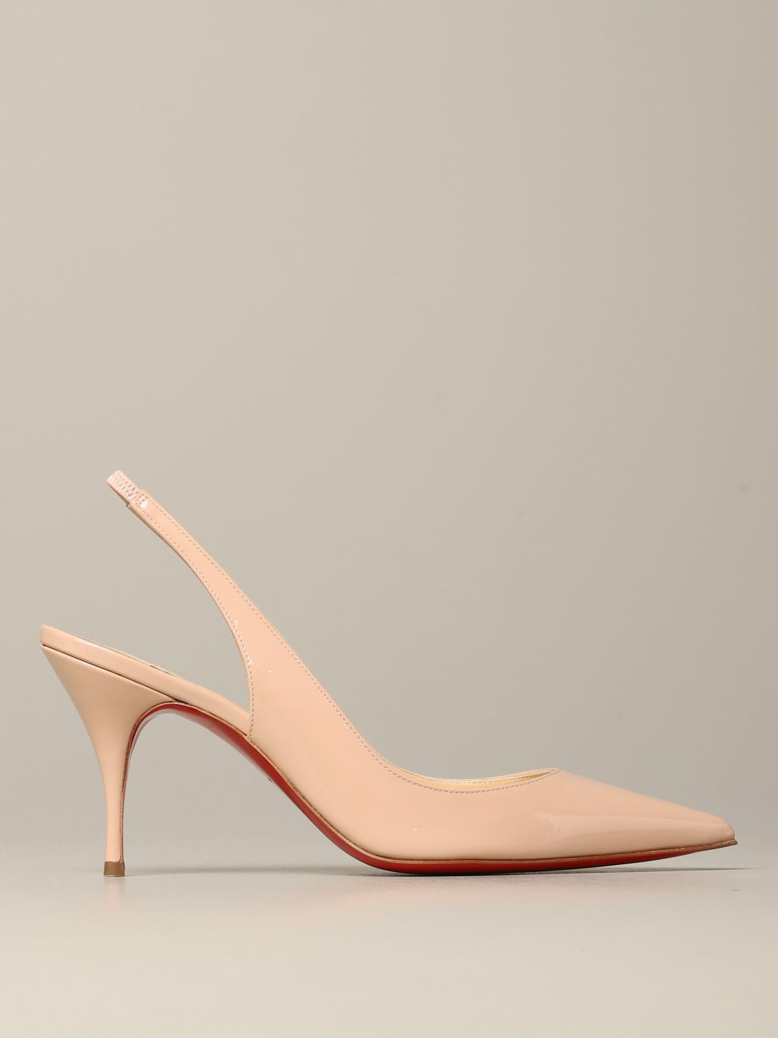 Clare Christian Louboutin patent leather sling back nude 1