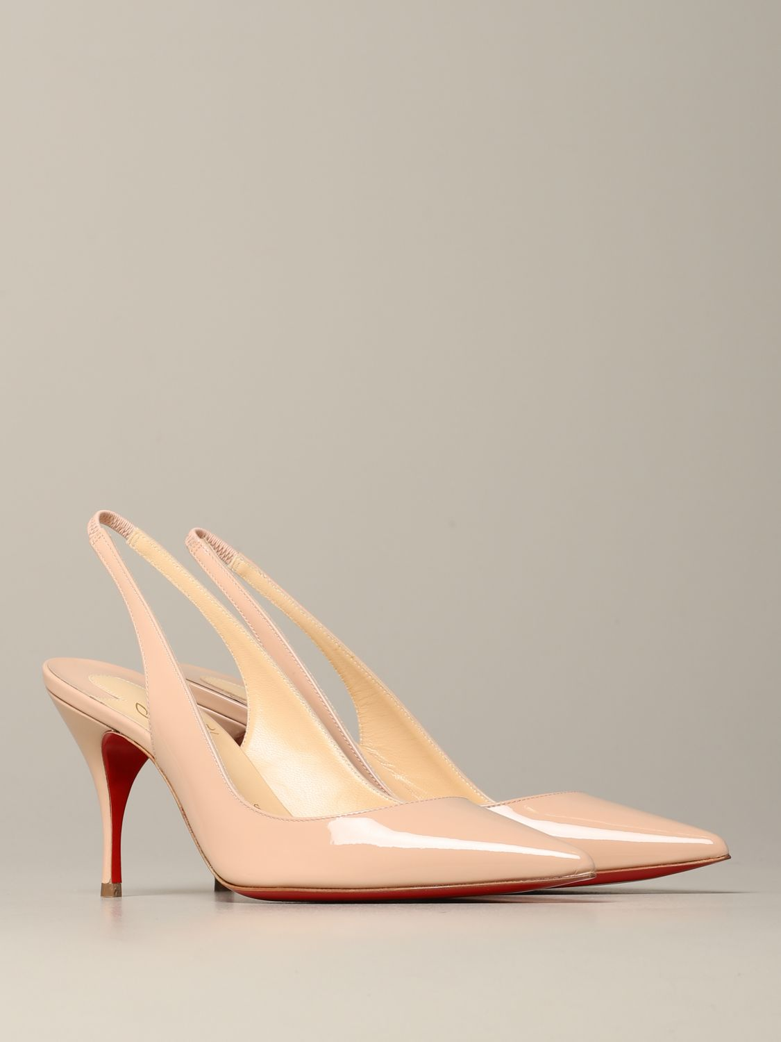 Clare Christian Louboutin patent leather sling back nude 2