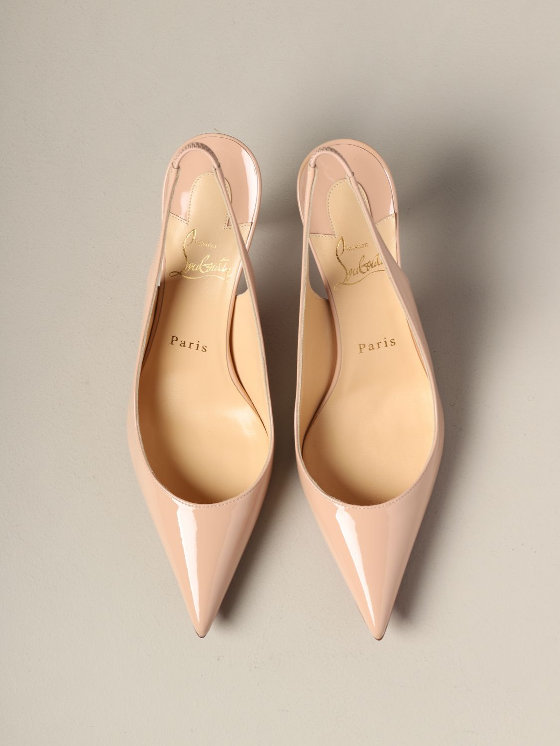 Clare Christian Louboutin patent leather sling back nude 3