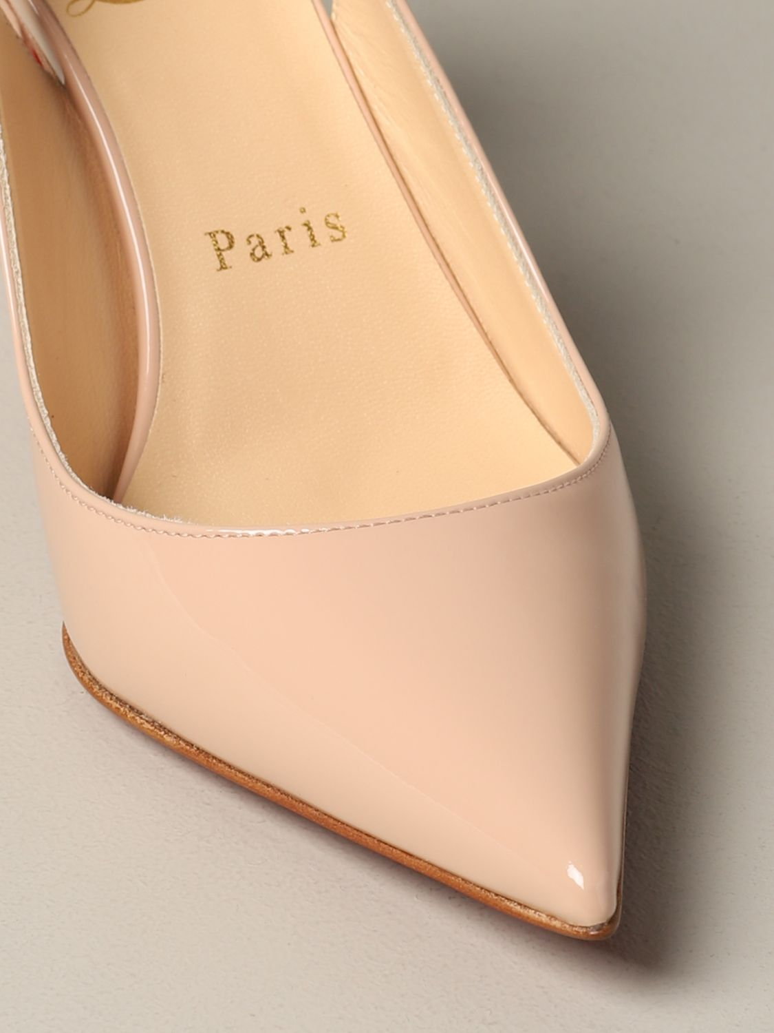 Clare Christian Louboutin patent leather sling back nude 4
