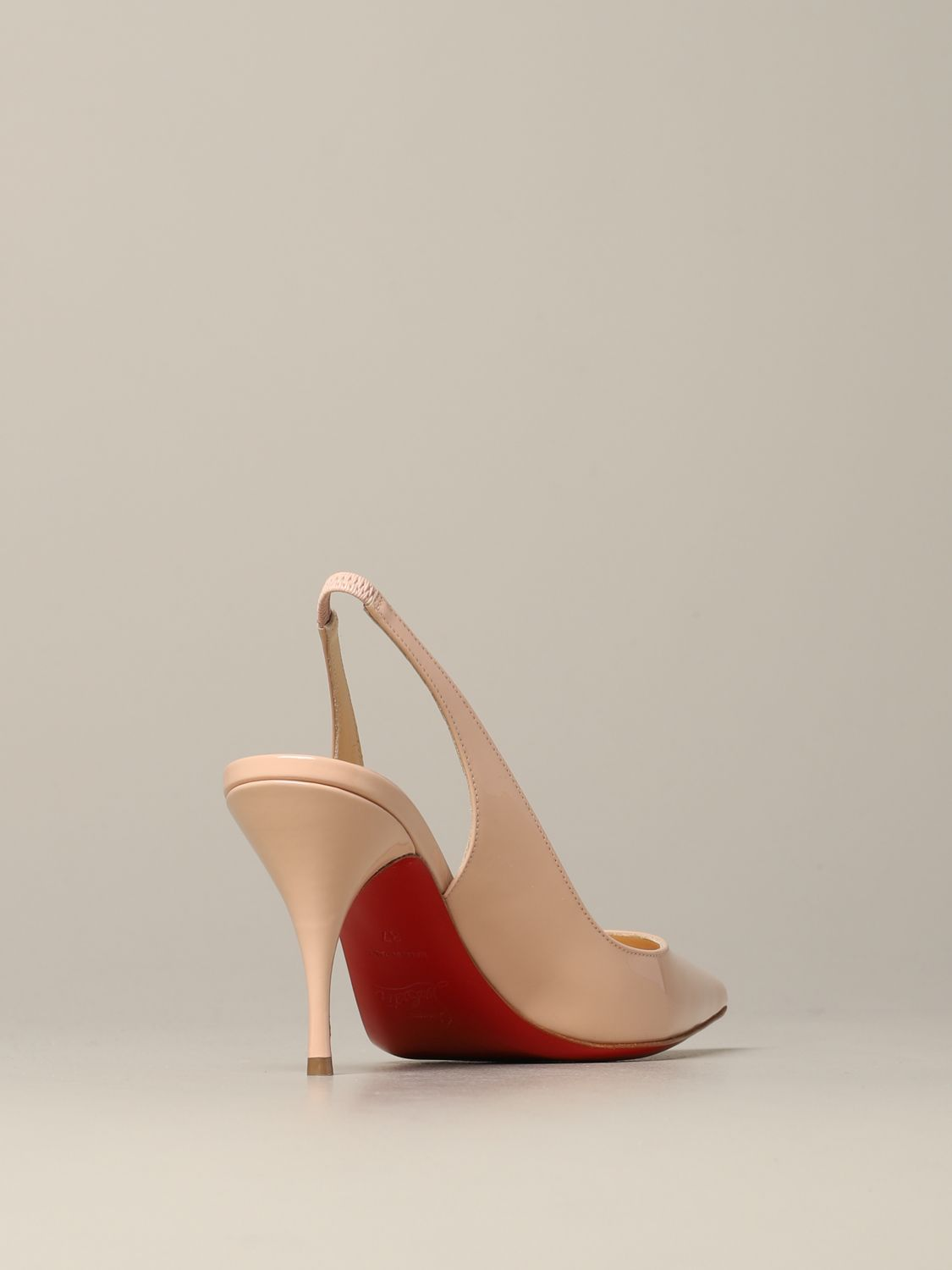 Clare Christian Louboutin patent leather sling back nude 5