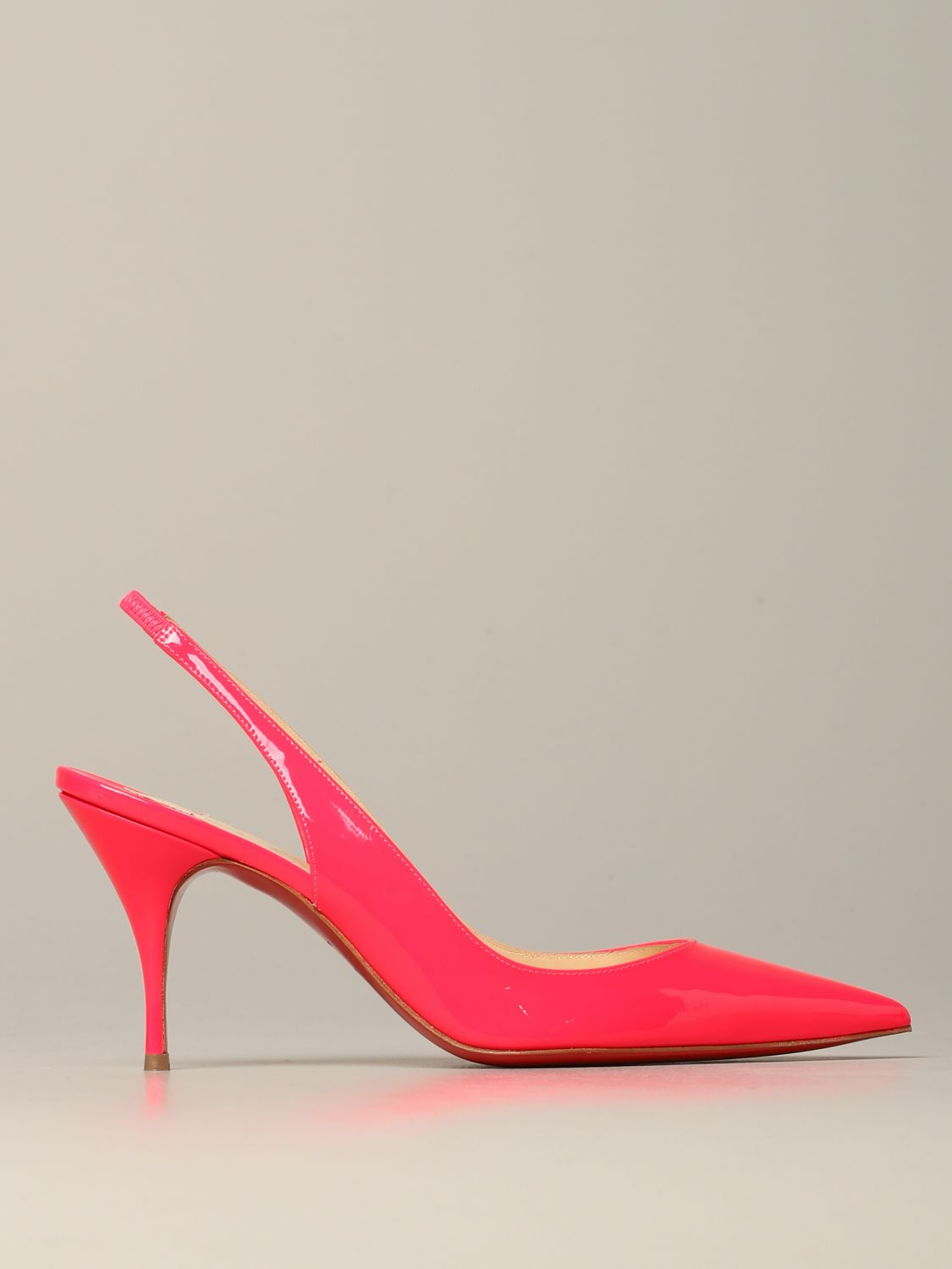 Christian Louboutin Clare sling back in fluorescent paint pink 1