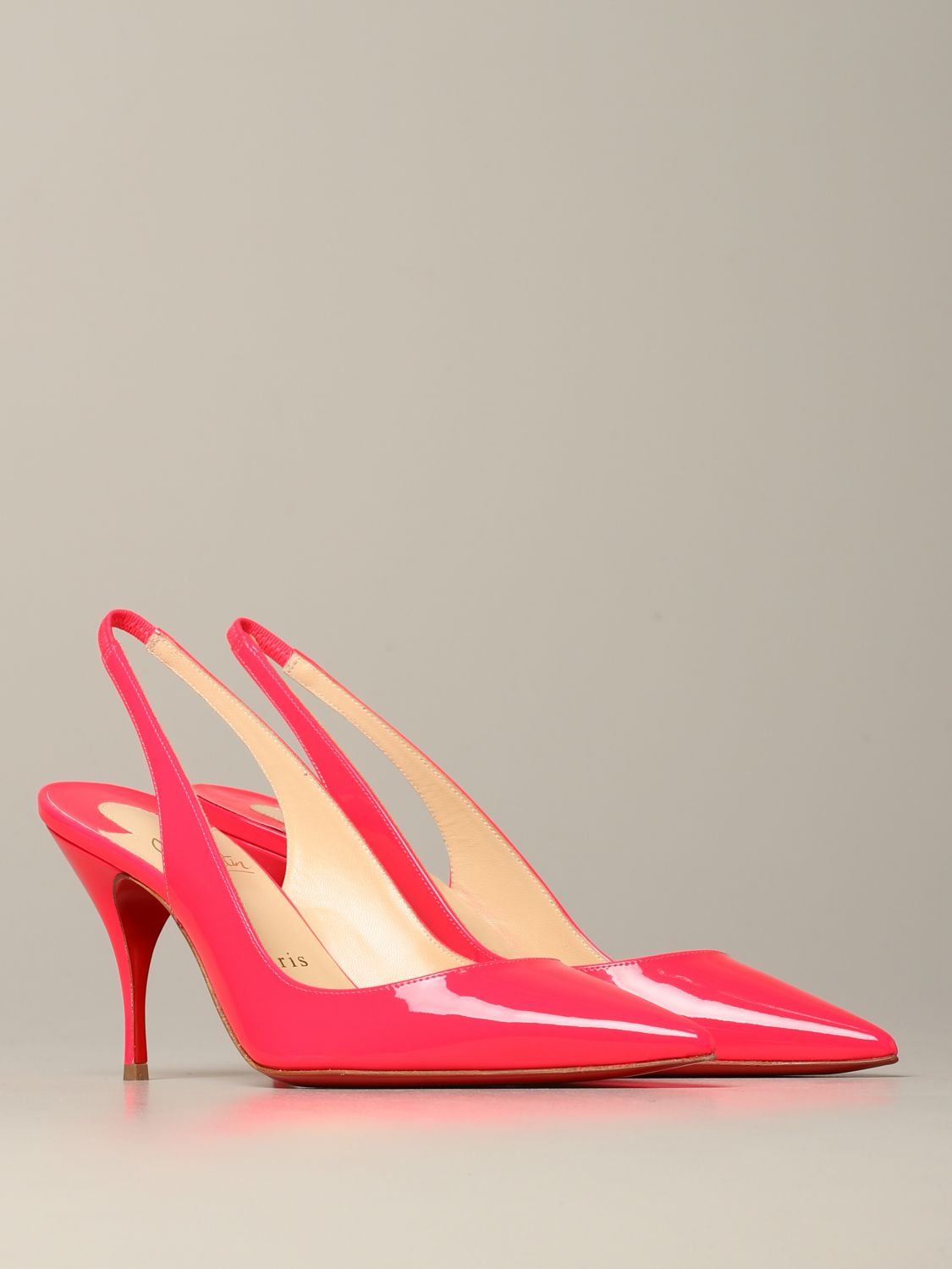 Christian Louboutin Clare sling back in fluorescent paint pink 2