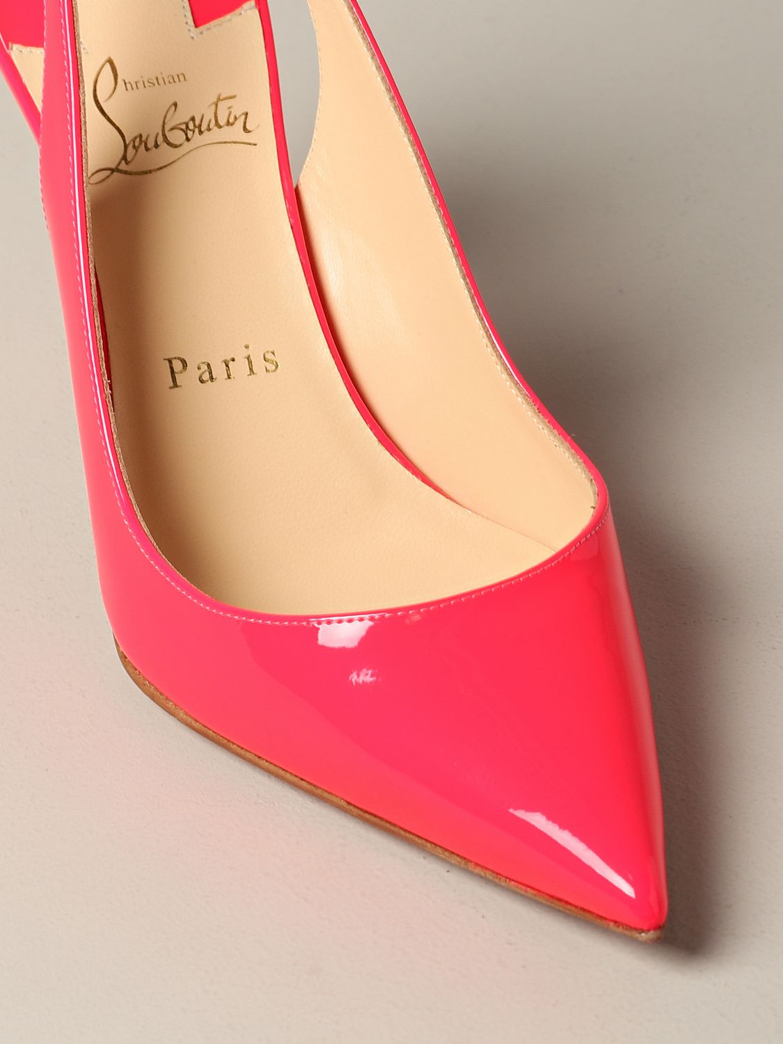 Christian Louboutin Clare sling back in fluorescent paint pink 4
