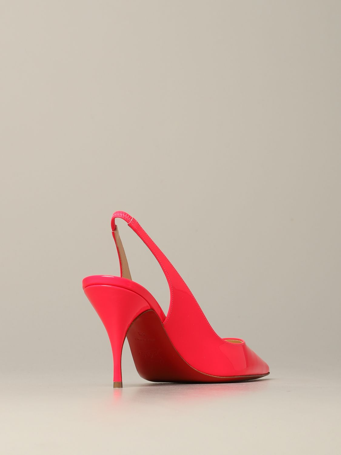 Christian Louboutin Clare sling back in fluorescent paint pink 5