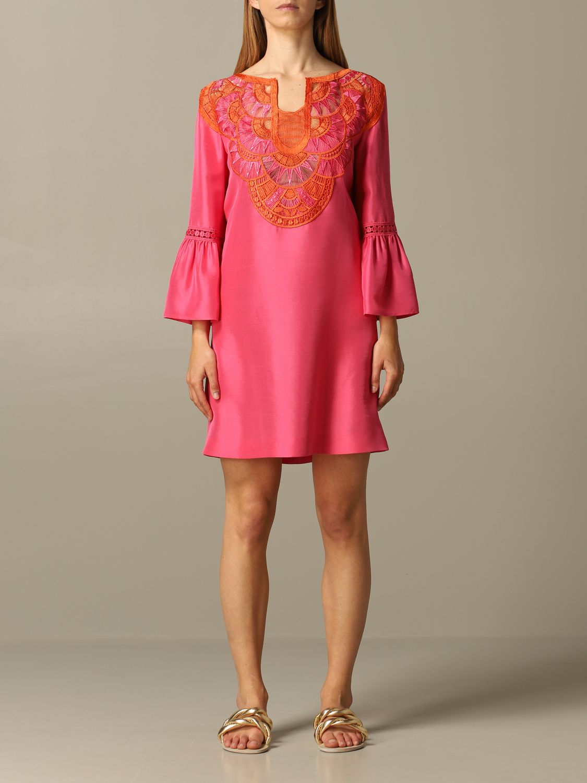 Robes Alberta Ferretti: Robe Alberta Ferretti avec inserts brodés rose 1