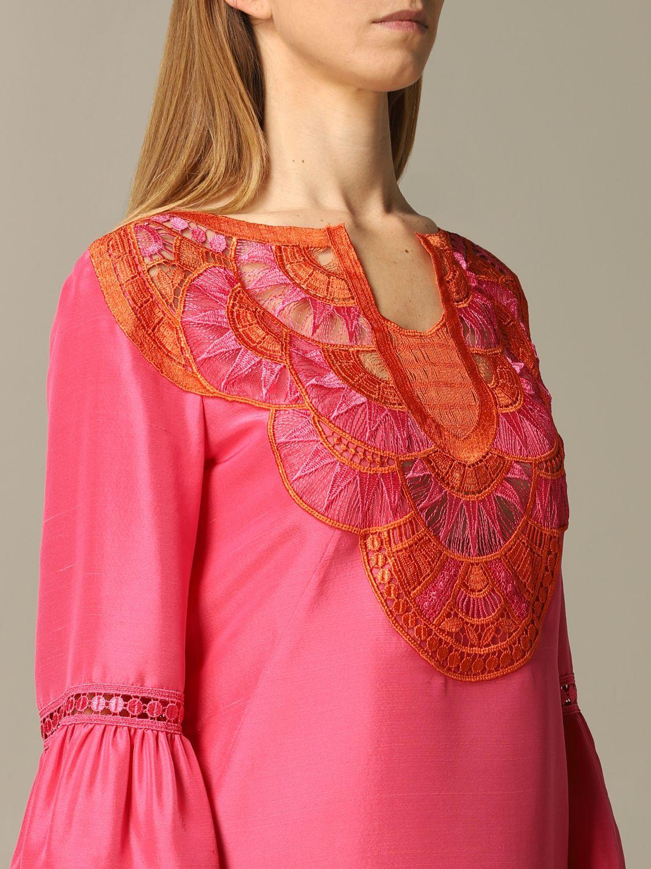 Robes Alberta Ferretti: Robe Alberta Ferretti avec inserts brodés rose 3