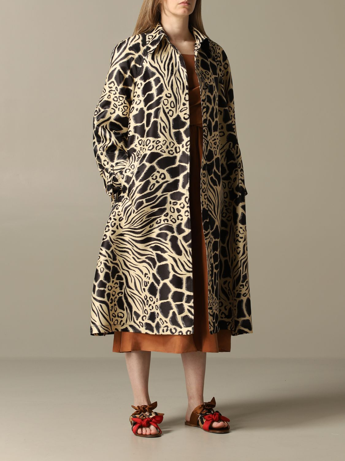 Coat Alberta Ferretti: Alberta Ferretti trench coat in printed glass nylon black 1