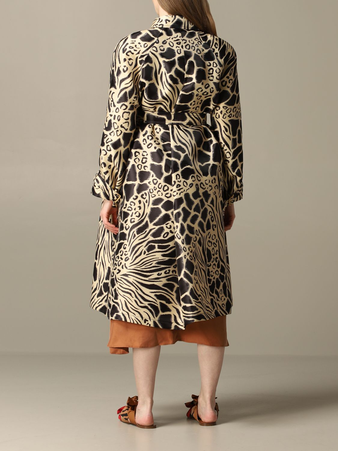Coat Alberta Ferretti: Alberta Ferretti trench coat in printed glass nylon black 2