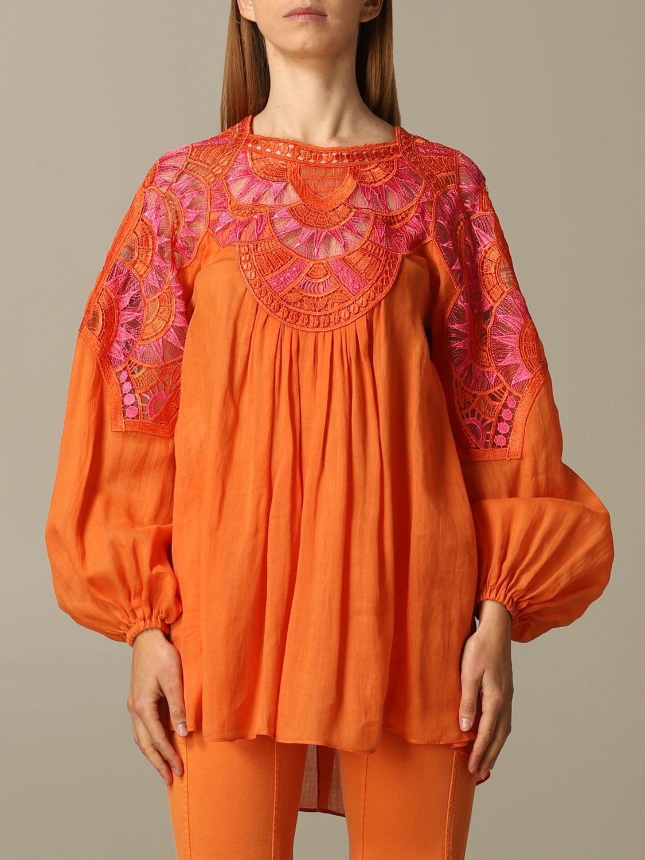 Dress Alberta Ferretti: Alberta Ferretti blouse in cotton with embroidery orange 1