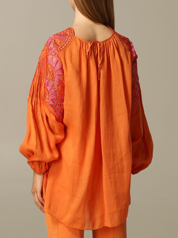 Dress Alberta Ferretti: Alberta Ferretti blouse in cotton with embroidery orange 2