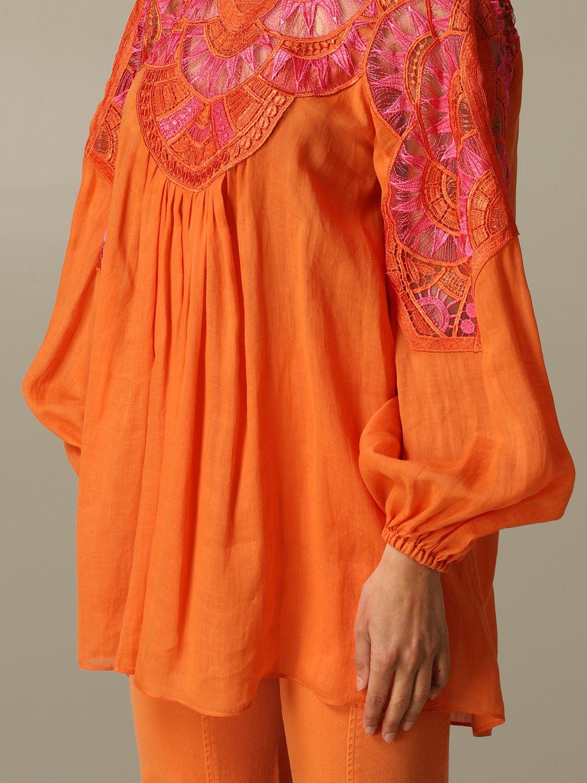 Dress Alberta Ferretti: Alberta Ferretti blouse in cotton with embroidery orange 3