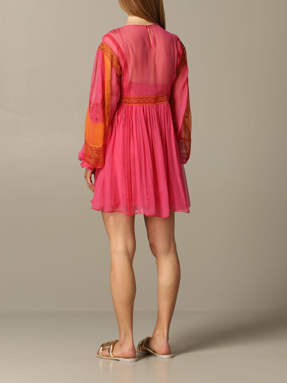 Abito Alberta Ferretti: Abito Alberta Ferretti in chiffon con inserti in pizzo rosa 2