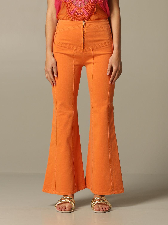 Jeans Alberta Ferretti: Pantalone Alberta Ferretti flaire con zip arancione 1