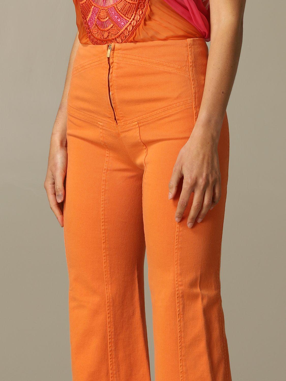 Jeans Alberta Ferretti: Pantalone Alberta Ferretti flaire con zip arancione 3