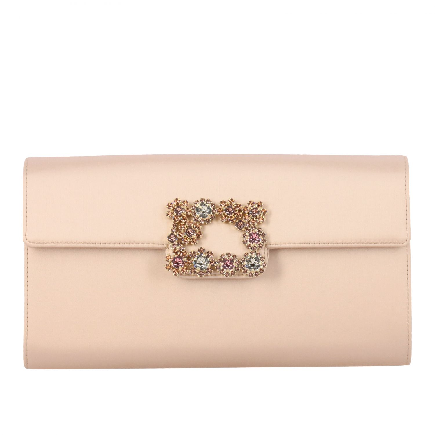 Roger Vivier satin clutch with crystal flower buckle nude 1