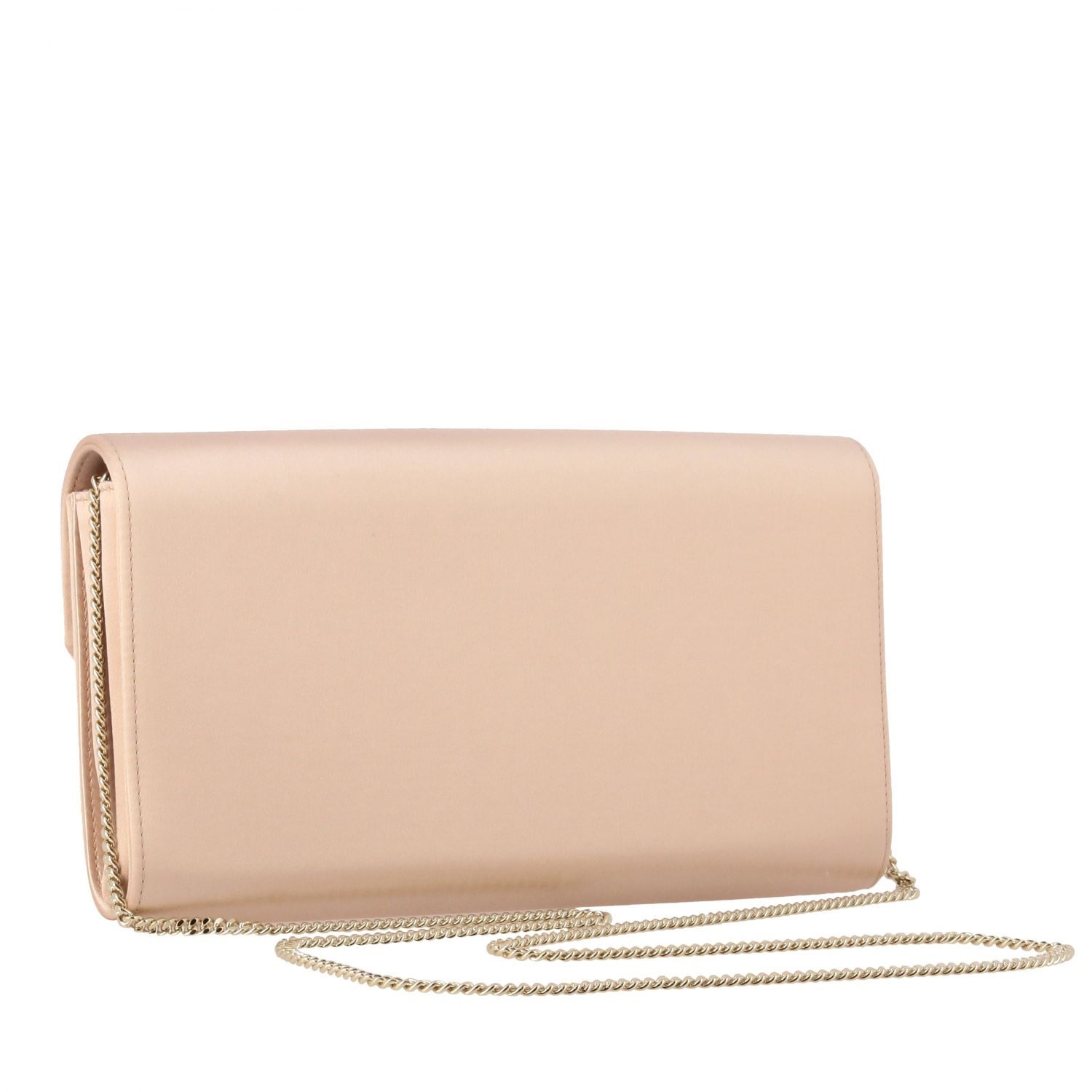 Roger Vivier satin clutch with crystal flower buckle nude 3