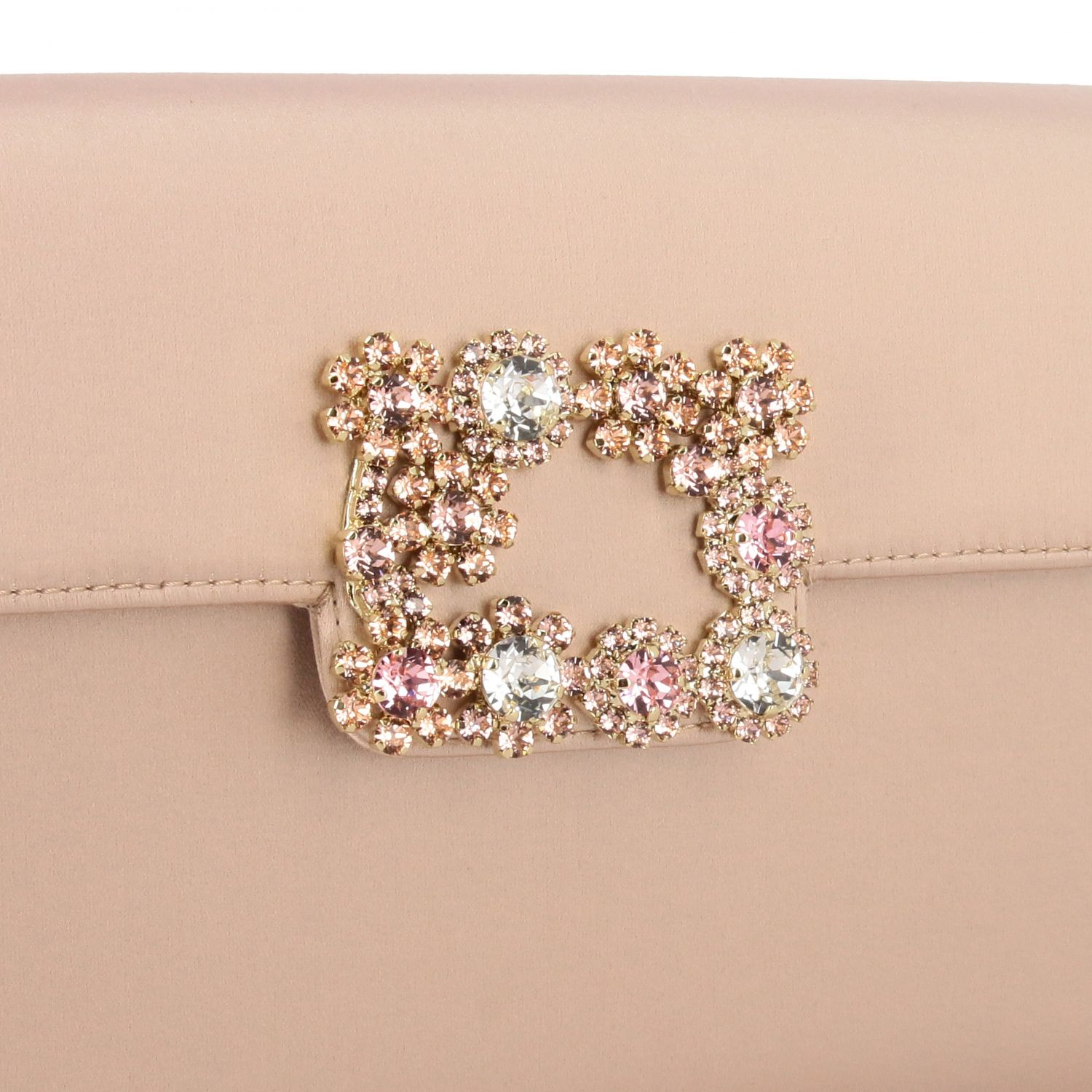 Roger Vivier satin clutch with crystal flower buckle nude 4