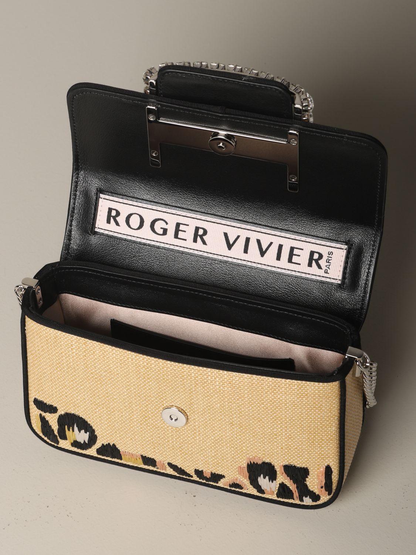 Tres Vivier Roger Vivier Tasche aus Bast mit Stickerei beige 5