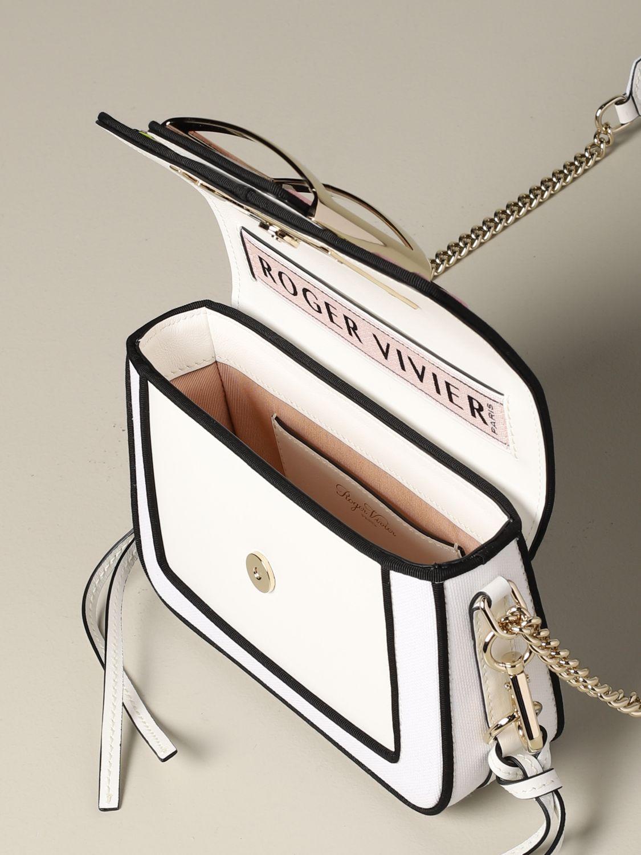 Roger Vivier Tres Vivier Tasche aus Canvas mit Stickerei weiß 4