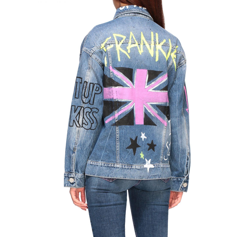 Veste en jean Frankie Morello avec inscriptions all over délavé 3