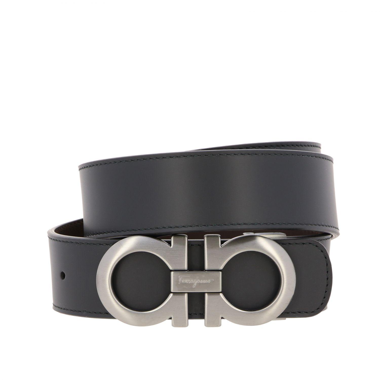 Cintura Gancini Salvatore Ferragamo in pelle reversibile nero 1