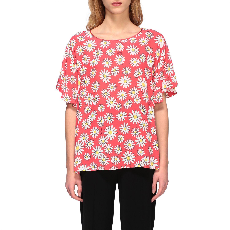 T-Shirt Boutique Moschino: Boutique Moschino T-Shirt mit Gänseblümchen Aufdruck korall 1