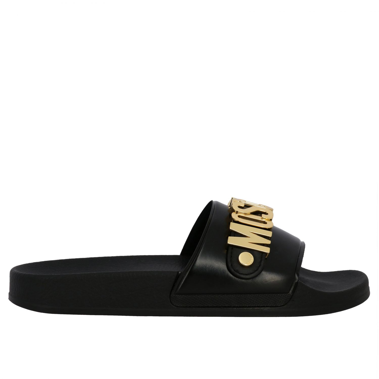 Sandalo Moschino Couture con maxi logo metallico nero 1